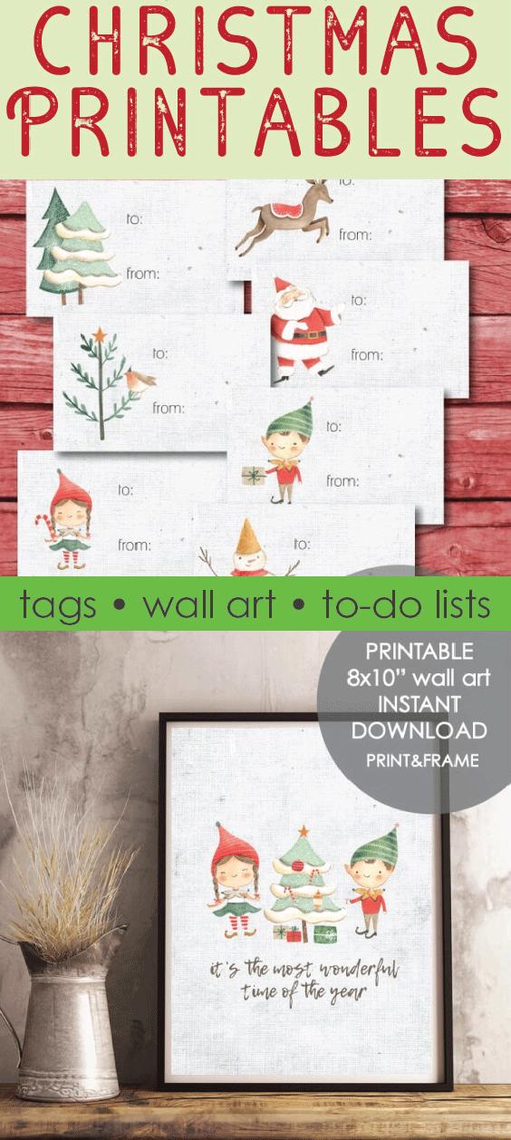 Christmas Printables - gift tags, wall art, holiday to-do lists