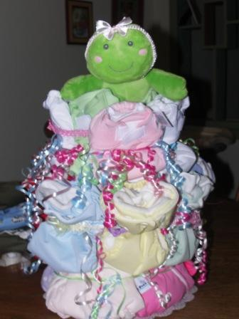 cloth diaper cake frog baby shower picture