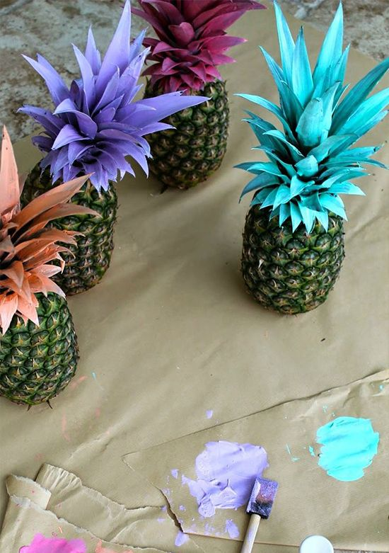 picture of painted pineapples for a baby shower