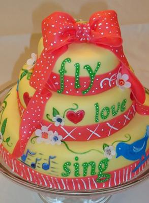 image of a bright flower cake
