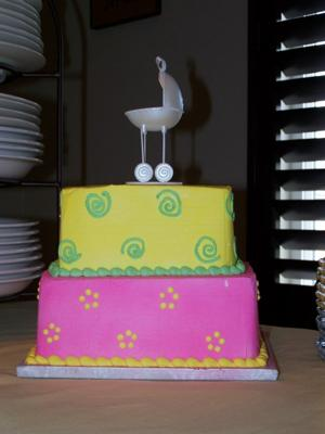 Picture of 2 tier colorful baby shower stroller cake