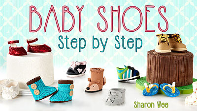 pimage of baby shoes fondant tutorial