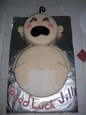image of a crying baby cake