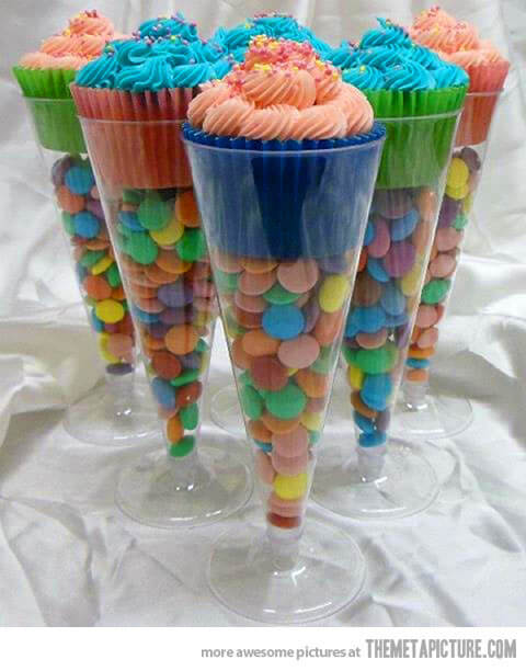 image of baby shower cupcakes in champagne flutes
