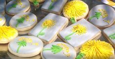 picture of yellow and green dandelion cookies
