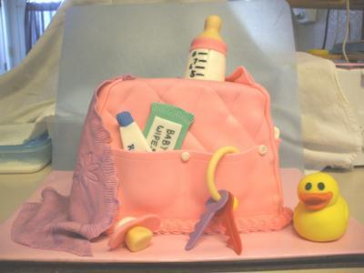 pink diaper bag cake picture