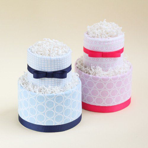 Diaper Cakes Wrapped With Receiving Blankets