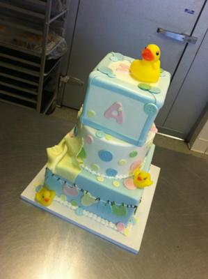 picture of 3 tier Duck Baby Shower Cake