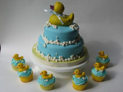 image of ducky cake and cupcakes