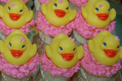 image of duck baby shower cupcakes
