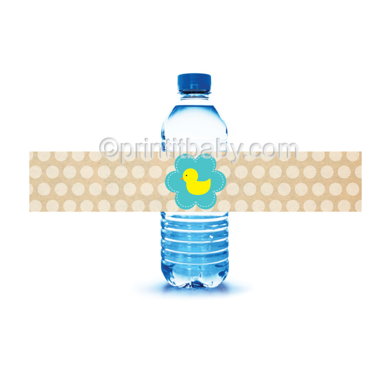 image of printable duck water bottle labels