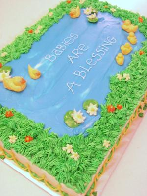 13 duck baby shower cakes you must see for Pond decoration ideas