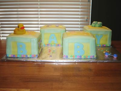 picture of duck baby shower blocks cake