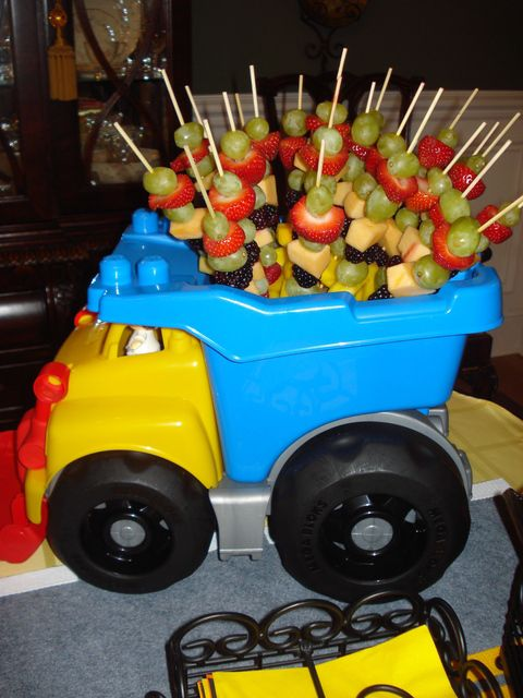 image of dump truck centerpiece ideas