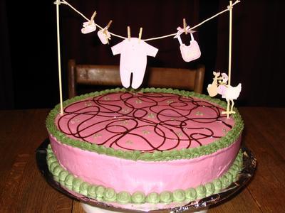 Image Of Pink Clothesline Laundry Cake