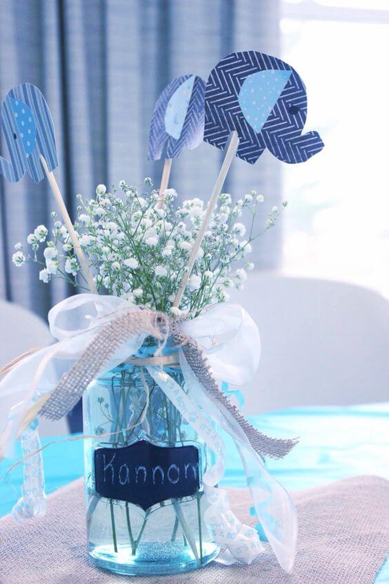 image of Baby's Breath Centerpiece Idea For A Baby Shower