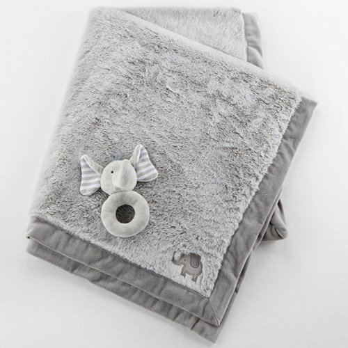 Elephant blanket and rattle baby gift