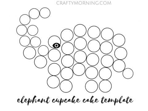 free printable elephant cupcake cake template