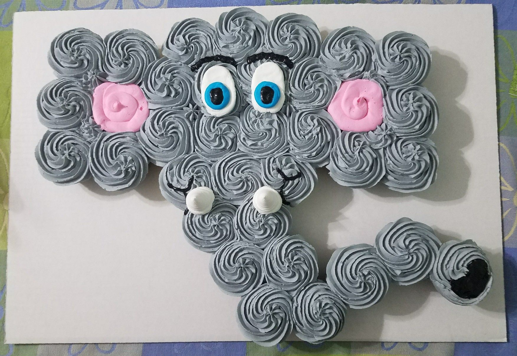 ELEPHANT BABY SHOWER CUPCAKE CAKE