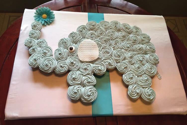 gray and blue elephant baby shower cake banner