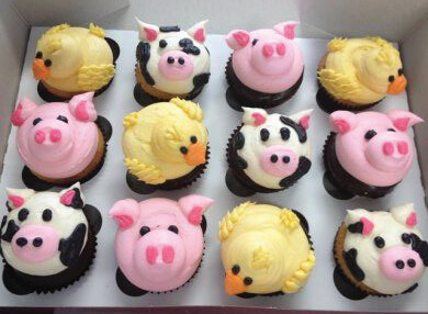 image of baby animal cupcakes for a baby shower
