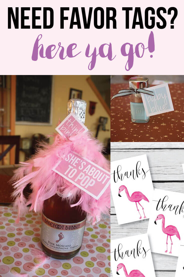 Image of printable favor tags for a baby shower