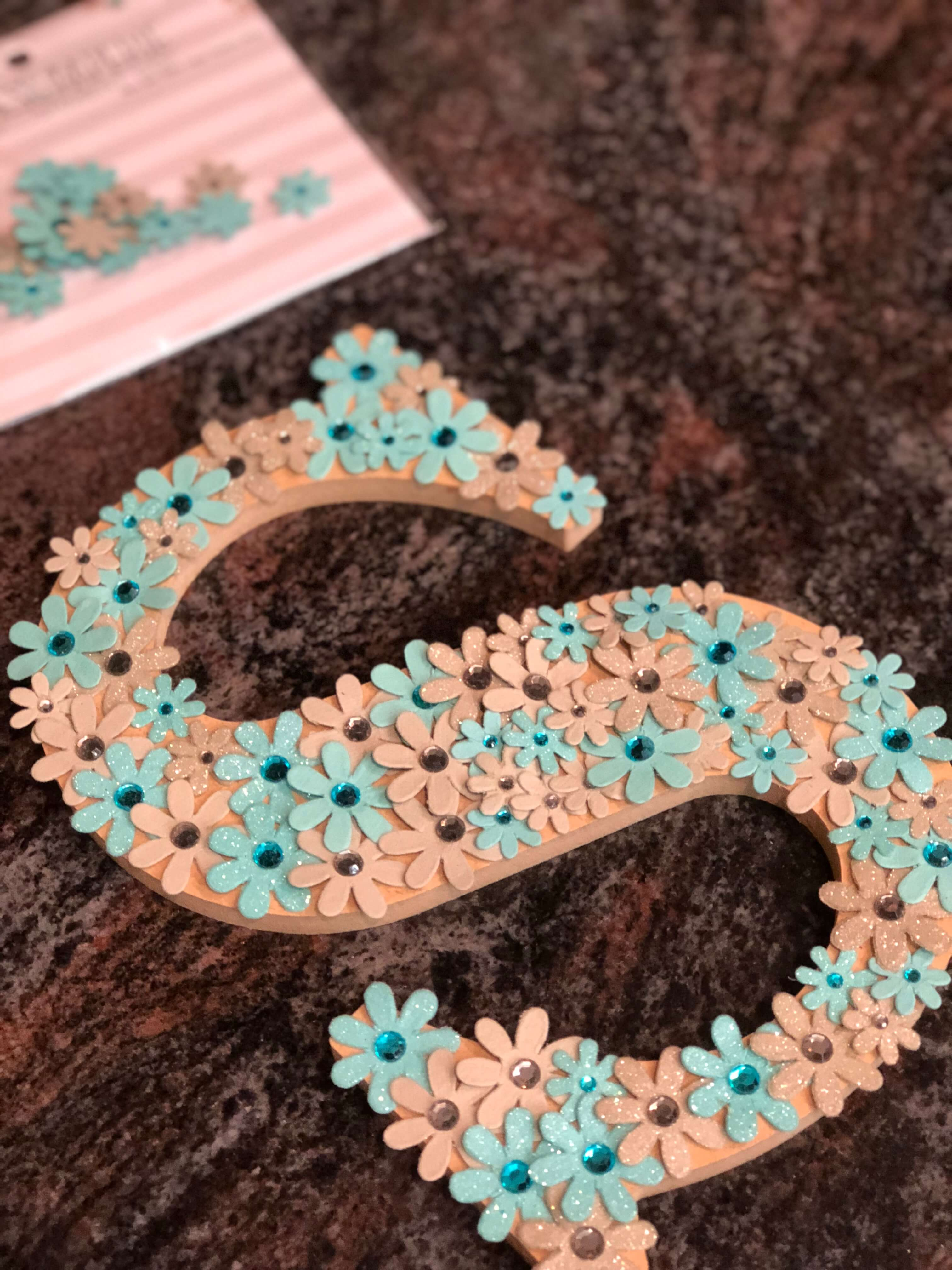 Flower letters baby shower decorations