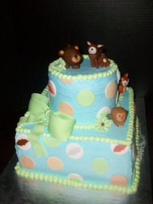 forest friends baby shower cake