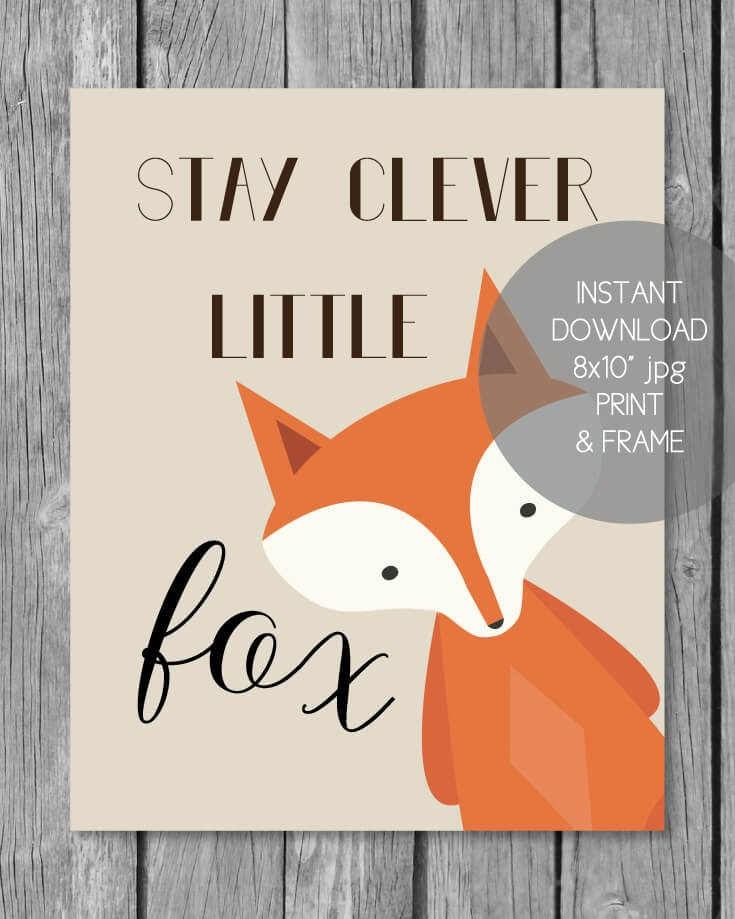 Printable woodland baby shower clever fox print