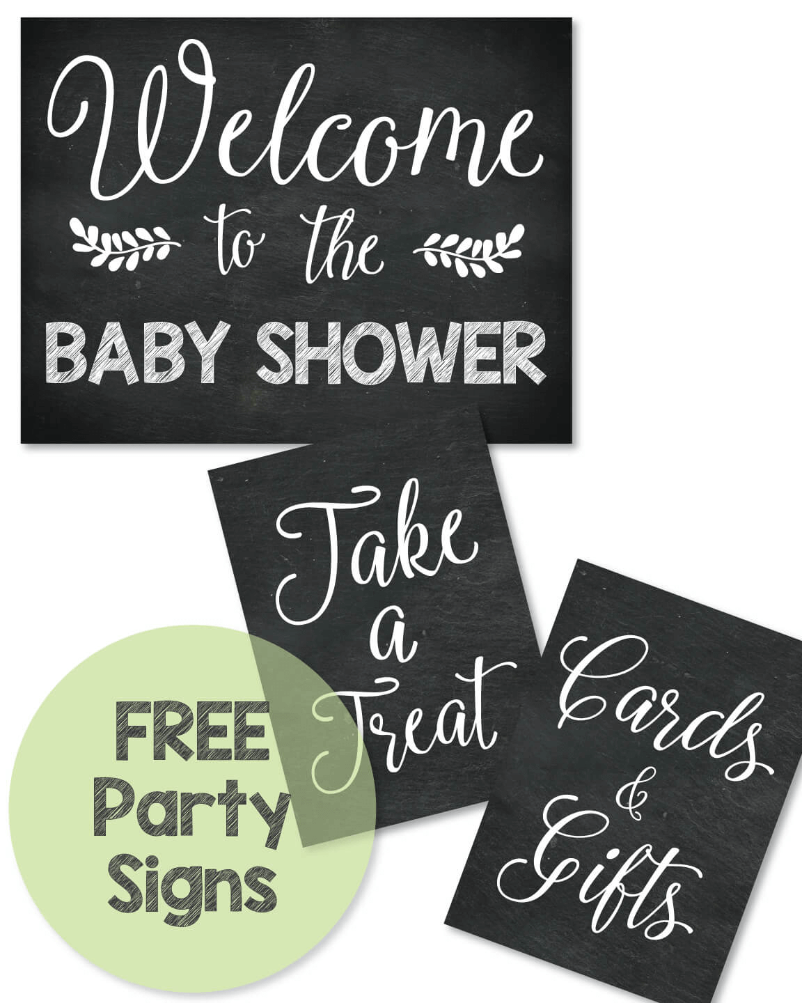 Free Printable Baby Shower Chalkboard Party Signs
