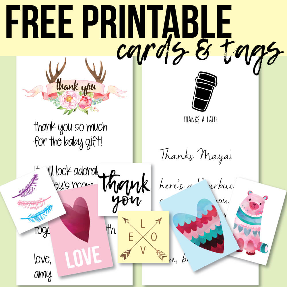 banner for free printable thank you cards and favor tags