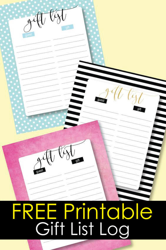 Free printable gift log for a baby shower or party