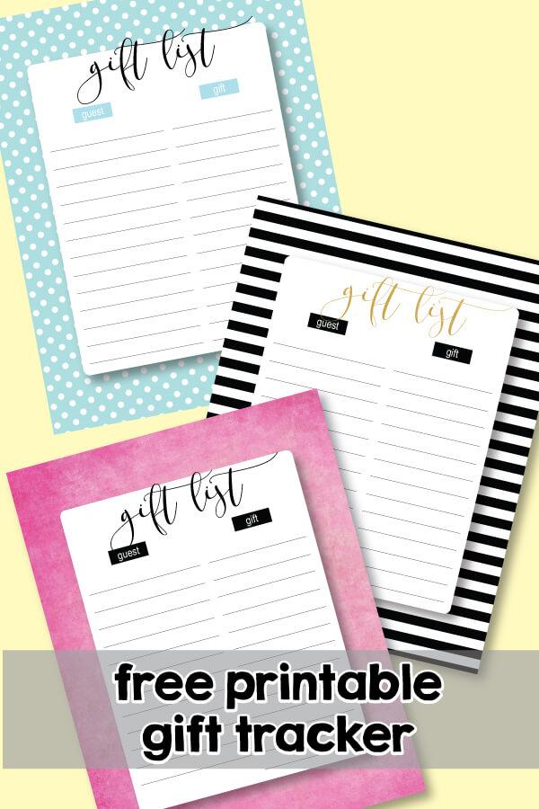 FREE Printable Gift List Trackers