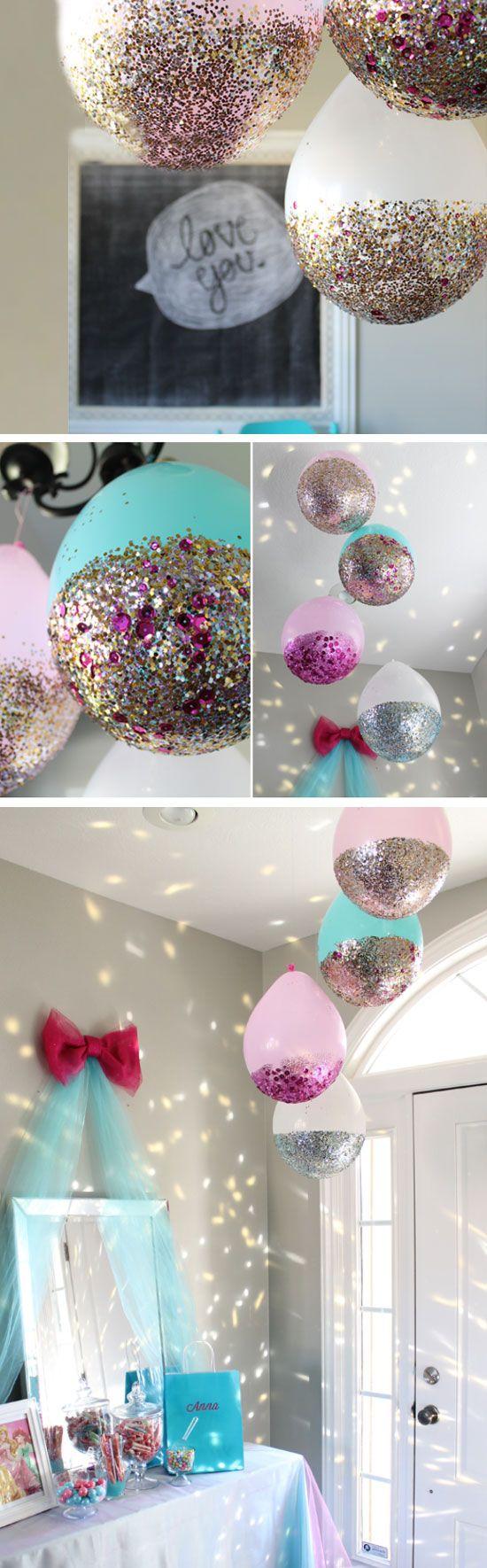 DIY glitter dipped balloons photo