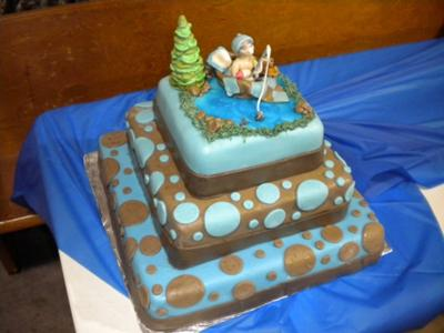 gone fishing baby shower cake