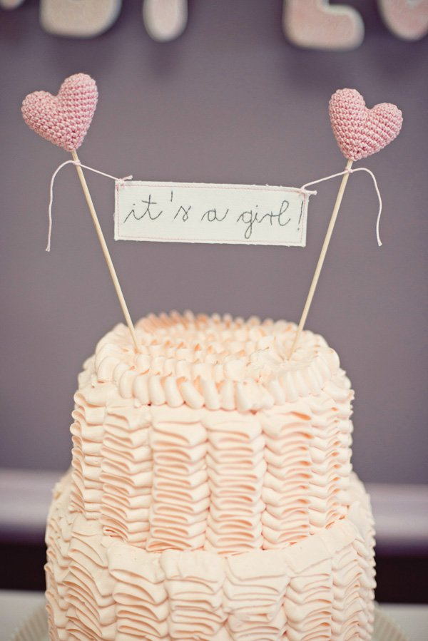 pink it's a girl baby shower heart cake - so adorable!