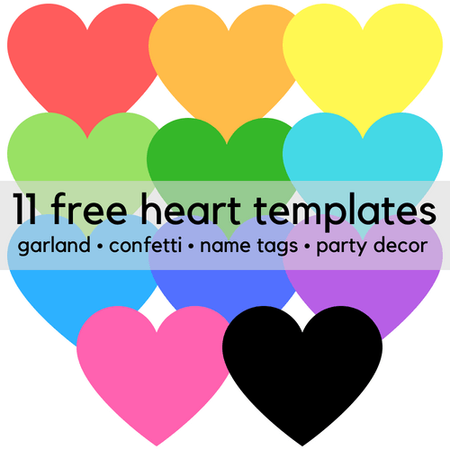 Free printable heart templates for party decor