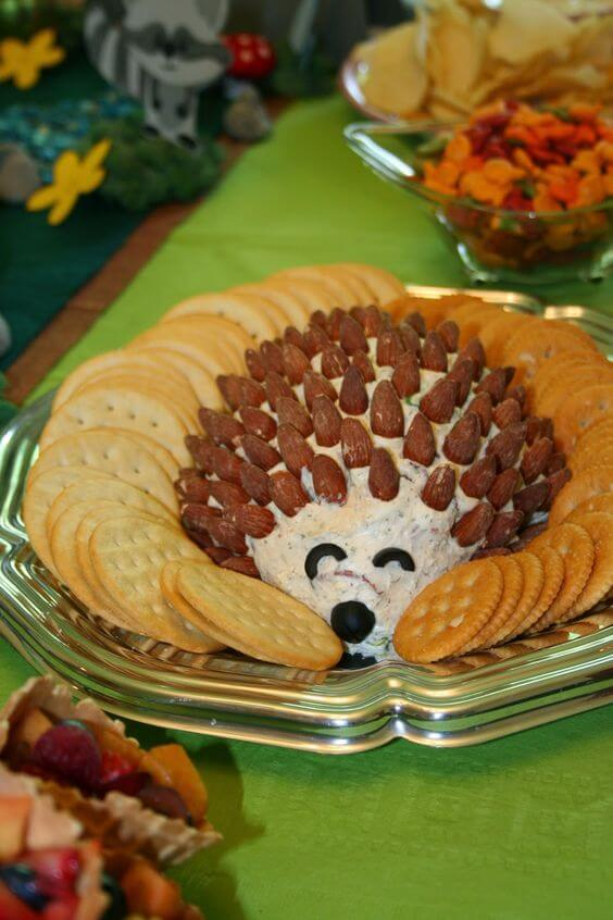 image of a hedgehog cheese ball for a baby shower