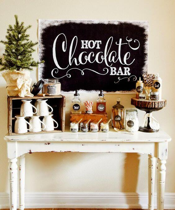 image of an amazing hot chocolate bar for a winter party