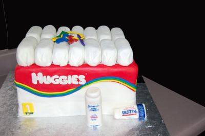 Picture of a DIY huggies diaper cake