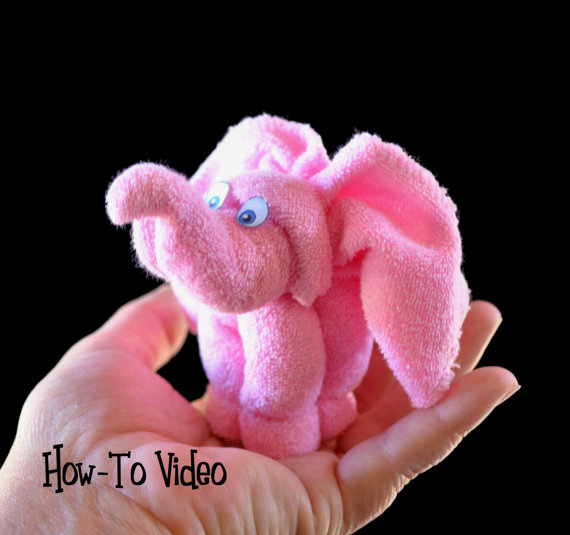 picture of an elephant washcloth favors