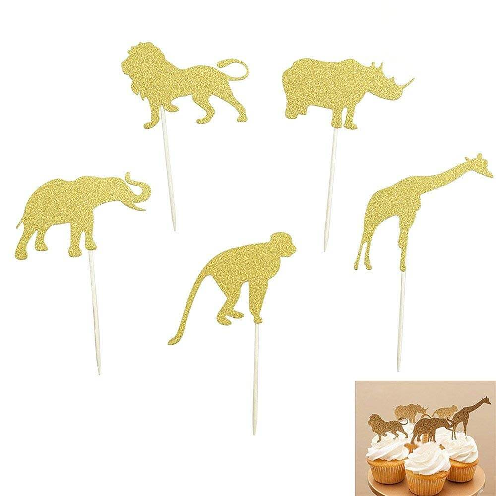 jungle safari gold glitter cupcake toppers