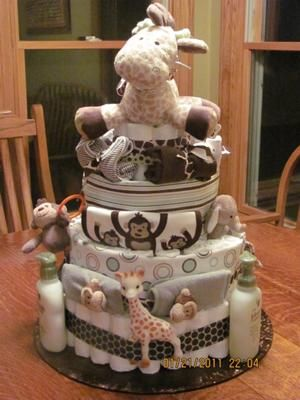 jungle monkey baby shower diaper cake picture