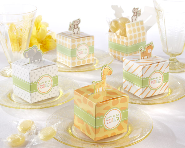 born to be wild baby shower favor boxes can be filled with candies