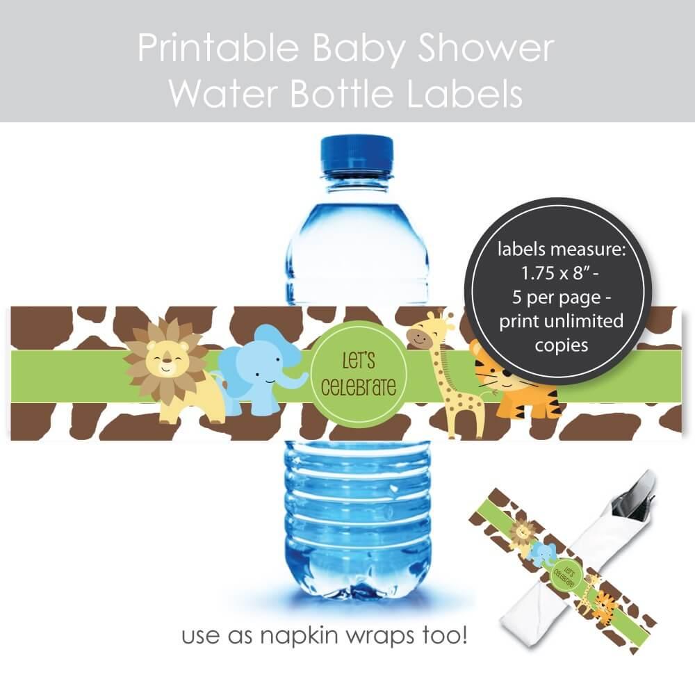 Printable Jungle Baby Shower Water Bottle Labels