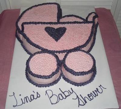 Pink and black baby shower buggy cake picture