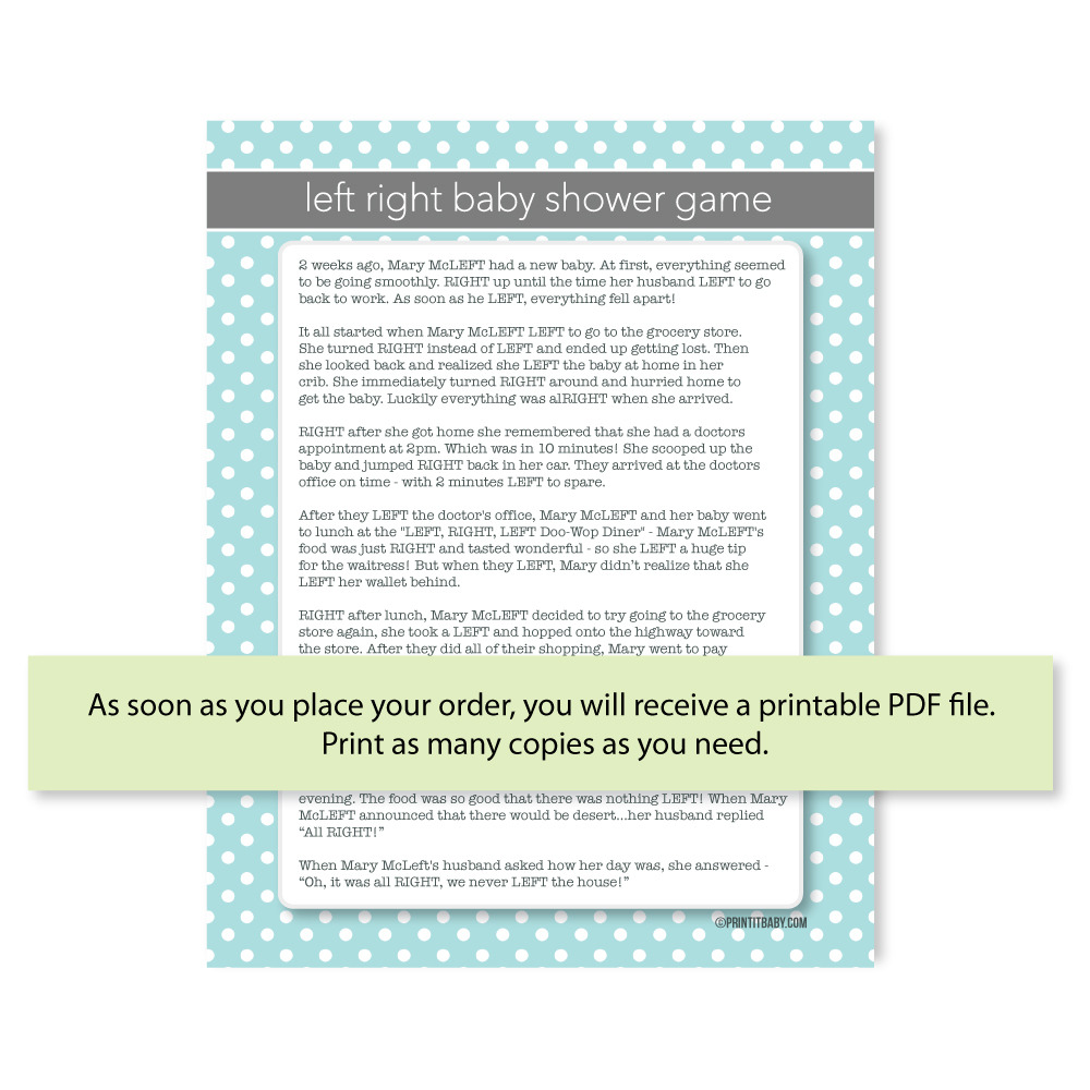 picture of left right baby shower game