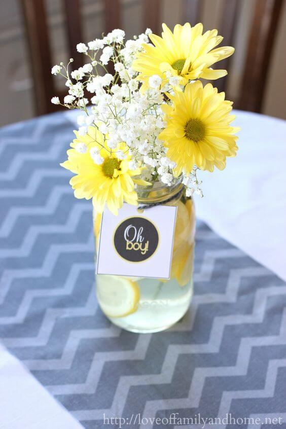 yellow baby shower floral arrangement picture