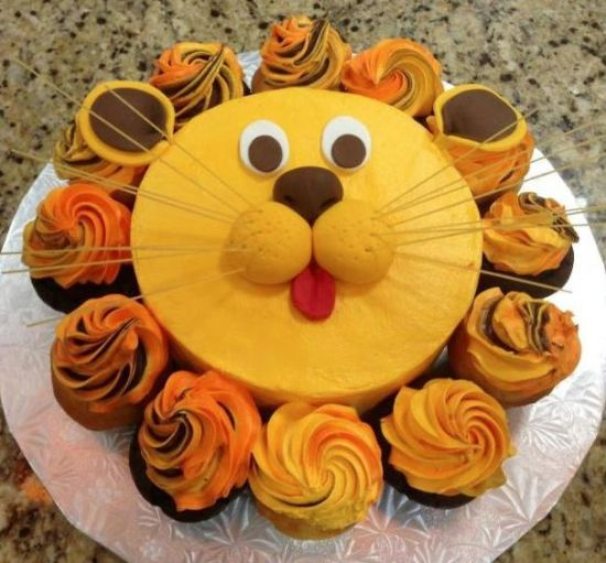 lion baby shower cake picture