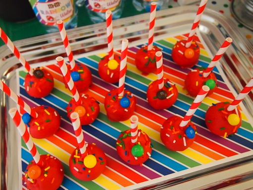 rainbow baby shower cake pops image